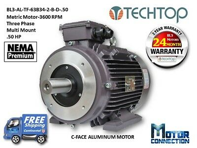.50 Hp Electric Motor Metric3600 Rpm 3-phase C-face Aluminum