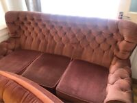 Pink Gorgeous Chesterfield Style Comfortable Soft Sofa & Two Matching Armchair Set