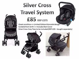 Silver Cross Travel System for Sale - suitable from birth - separately purchased Cozy Toes included.