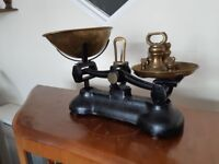 Antique Collectable Weighing Scales Kitchen Brass Weights Black