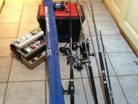 Fishing rods, box, reels and assorted items