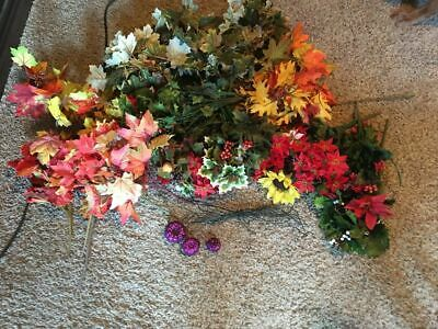 ARTIFICIAL FLOWER LOT FLOWERS VINES FALL FOLIAGE MIXED LOT CHRISTMAS CRAFT