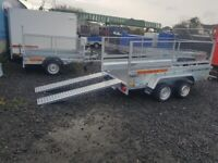 BRAND NEW MODEL 10 X 5 MASTER TWIN AXLE HEAVY DUTY TRAILER WITH 60CM MESH AND RAMPS 2700KG