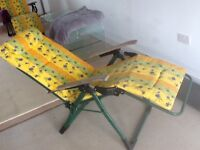2 x reclining sun chairs loungers and padded covers