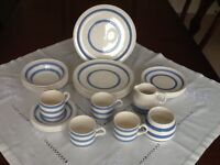Blue and white banded crockery
