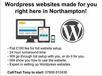 WordPress websites made for £100 right here in Northampton!
