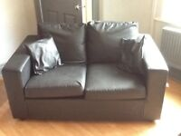 Black leather 3 seater sofa bed and 2 seater sofa