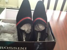 Men's Rossini formal black shoes brand new pair still in box size 10 blackred and green band £40