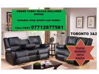 sofa in black recliners 3 and 2