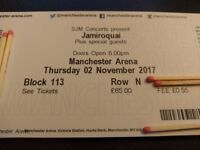 2 x Jamiroquai tickets Manchester Arena Thursday 2nd November Block 113 Lower Tier