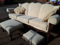 3 piece suite sofa and 2 armchair 2 footstools