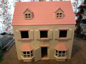 Wooden Dolls House with Dolls and Accessories