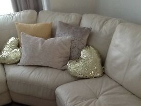 Cream leather corner sofa