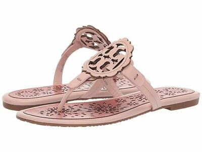 NIB Tory Burch Miller Scallop Medallion Sandals Shoes SEA SHELL PINK TRAMONTO