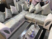 NEW SHANNON CRUSH VELVET CORNER SOFA & 3+2 SEATER AVAILABLE IN STOCK