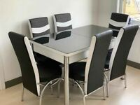 HIGH GLOSS EXTENDABLE DINING TABLE WITH 6 CHAIRS NOW IN STOCK