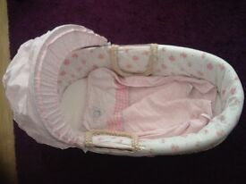 Mothercare girls Moses basket