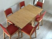 IKEA Solid Pine Folding Table & 6 Chairs with 3 storage drawers