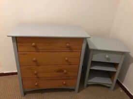 Solid Pine Chest of drawers & bedside cabinet