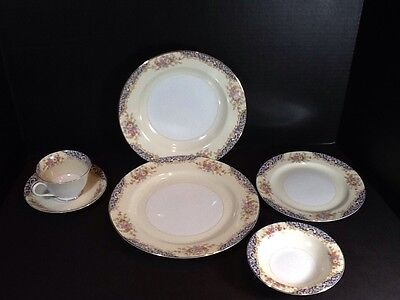GORGEOUS VINTAGE RARE NORITAKE FINE CHINA 6 PIECE PLACE SETTING-MINT