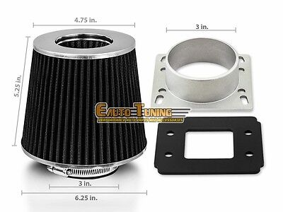 Mass Air Intake Sensor - Mass Air Flow Sensor Intake Adapter + BLACK Filter For 90-93 Mazda Miata 1.6L L4