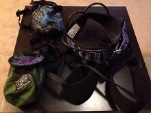 Climbing harnesses and chalk bags