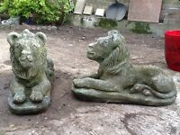 two ornamental lions ideal for wall or just in the garden
