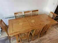 CAN DELIVER - MARKS AND SPENCER MALABAR LARGE DINING TABLE WITH 8 CHAIRS IN VERY GOOD CONDITION