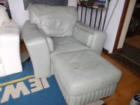 SOFT Italian LEATHER Arm chair in light sage colour AND FOOT STOOL