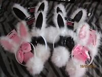bunny ears , tails and bow ties theres 4 black and 1 pink set great for easter or hen do