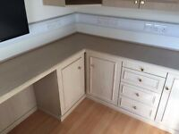 Fitted Office Furniture - 3 wall cupboards, 2 drawer units, 2 floor cupboards and desk top