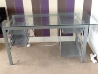 Glass topped office desk - Reduced for quick sale