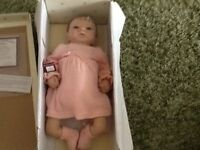 Ashton Drake weighted Baby Emily Doll, beautiful clothes and real hair, never been played with