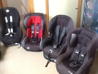 Group 0+1 and group 1 car seats for newborn upto 18kg and 9kg upto 18kg-several available-all washed
