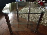 Glass and Chrome Tv Table