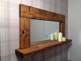 Large Rustic Shelved Mirror, reclaimed timber