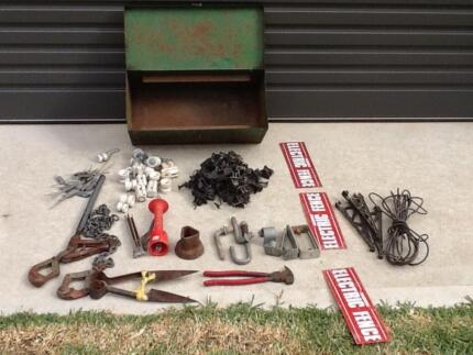 Fencing tools,wool shears and assorted electric fence parts