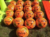 17 Mitre Footballs + Training Pole Set + Traffic Cone Pole Set