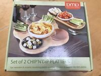 "DMD SET OF 2 CHIP ""N"" DIP PLATTERS"