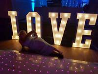 4ft love letters and backdrop curtain £95