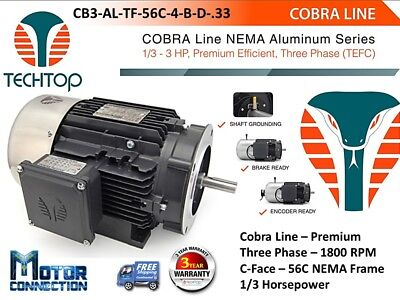 13 Hp Electric Motor Cobra Line 1800rpm Three Phase 56c - C-face