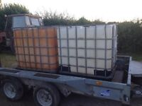 2 off 1000 litre IBC Containers on galvanised frames & rubber pallets