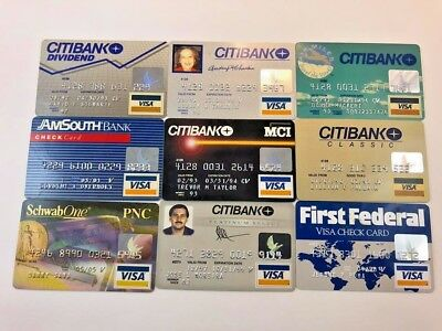 Lot of 9 vintage used expired Visa credit cards for collectors G75