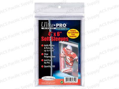 100 ULTRA PRO 4x6 SOFT SLEEVES Premium Photo Postcard New Free Shipping