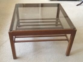 Beech Wood & Smoked Glass Top square Coffee Table.