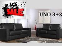 SOFA BLACK FRIDAY SALE 3+2 Italian leather sofa brand new black or brown 2146DUEDUAB