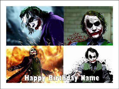 Joker Birthday Cake (THE JOKER A4 Edible Icing Birthday Cake Party Decoration Topper)