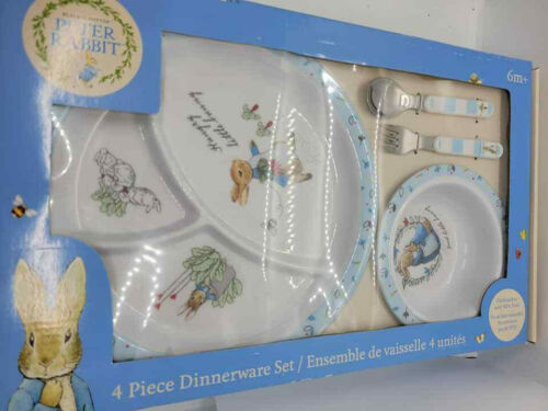 peter rabbit beatrix potter 4 piece dinnerware set kids preferred