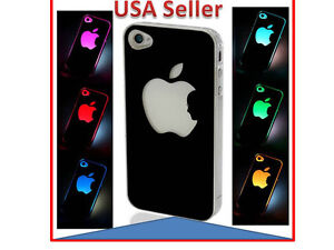 Colorful Change logo Battery Sense Flash LED light  Case for Apple iPhone 4 4s