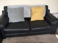 Black leather 3&2 sofa